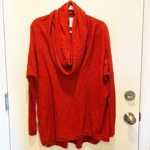 Ruby Moon cowl neck oversized red sweater